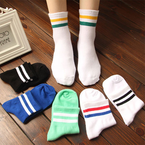 爆款精品 男孩男生运动袜子批发 纯棉 韩版学院风格 条纹袜子