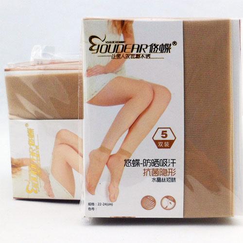 超薄透明水晶女士丝袜 短丝袜女批发 5双装