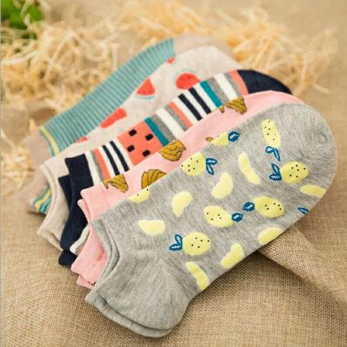 新款夏季韩国个性潮流女士袜子 全棉水果船袜 条纹短袜批发