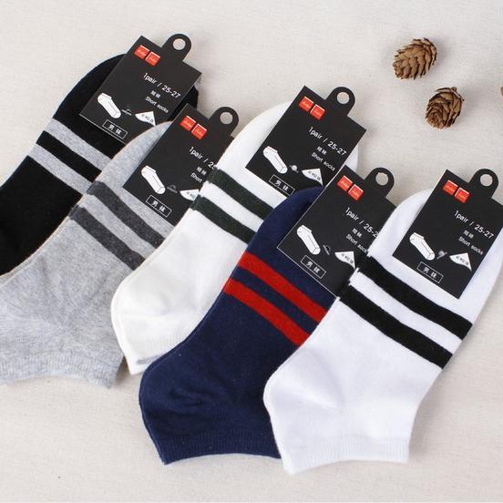 男士条纹船袜子批发 纯棉运动船袜 男士船袜子