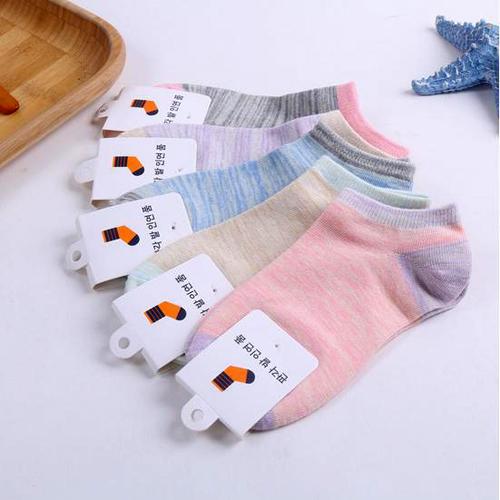 夏季新款纯棉女袜舒适透气拼色女士船袜复古短袜批发