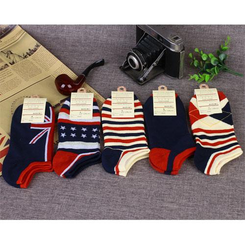 春夏新款 男士短袜全棉船袜国旗款短腰低帮袜浅口袜子