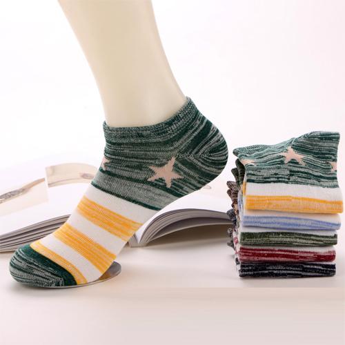 男士粗线船袜棉袜子批发 民族风 夏季 拼色五角星 春夏款