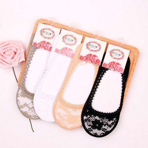 新款女士隐形袜船袜 全蕾丝花边 防滑透气网眼短袜子