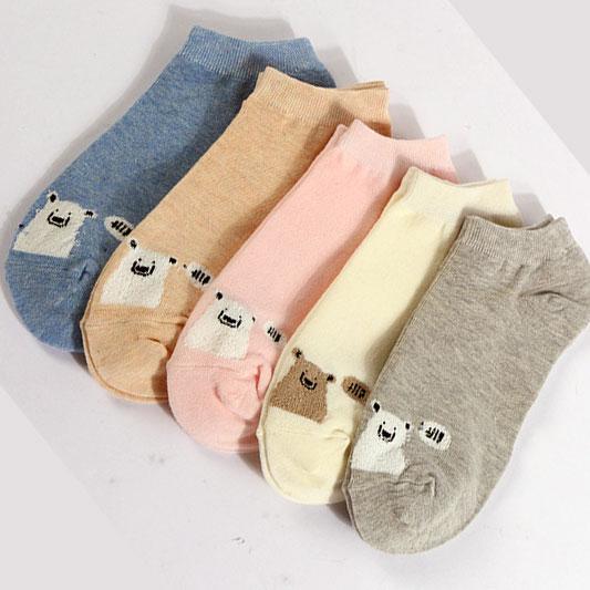 新款女士船袜 棉质卡通小熊 低邦 透气吸汗厂家批发