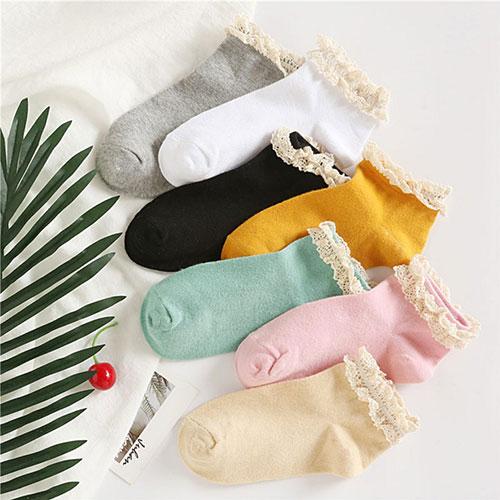 春秋新款女士船袜棉袜批发 蕾丝花边 纯色糖果色 时尚潮流