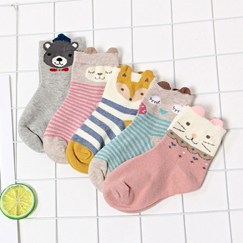 秋冬新款 儿童袜子批发 宝宝袜 立体 卡通小动物 中筒棉袜
