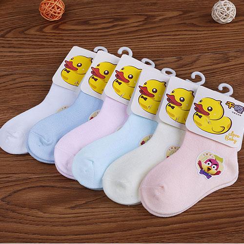 0-2岁秋冬新款宝宝袜子 婴儿袜子 纯色素色 中筒 舒适透气