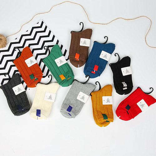 秋冬新款 日系复古女士棉袜子 订标双针粗线 中邦中筒 堆堆袜批发