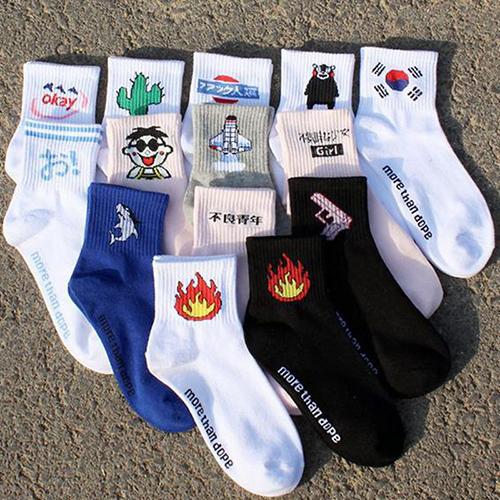 秋冬新款女士运动休闲袜子  搞怪个性图案系列袜子 个性女袜