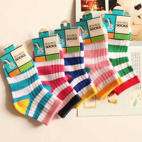 儿童袜子纯棉袜子批发 中筒彩虹条纹双针 学生袜批发 秋冬款
