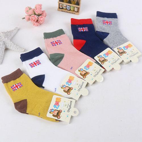 英伦风儿童袜子 棉袜纯棉 国旗个性 中筒中邦 透气舒适 秋冬
