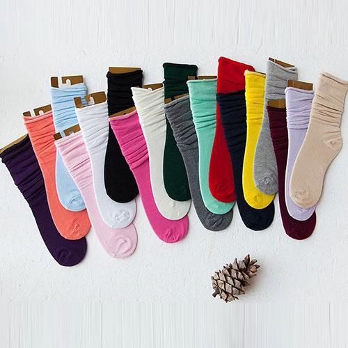 秋冬女士中筒堆堆袜子批发 卷边松口 纯棉糖果色 学院风百搭