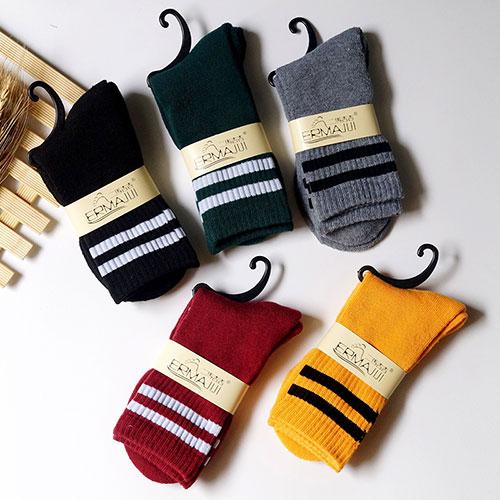 冬季新品 女士二条杠毛圈女袜子 加厚保暖 日系纯棉毛巾袜批发