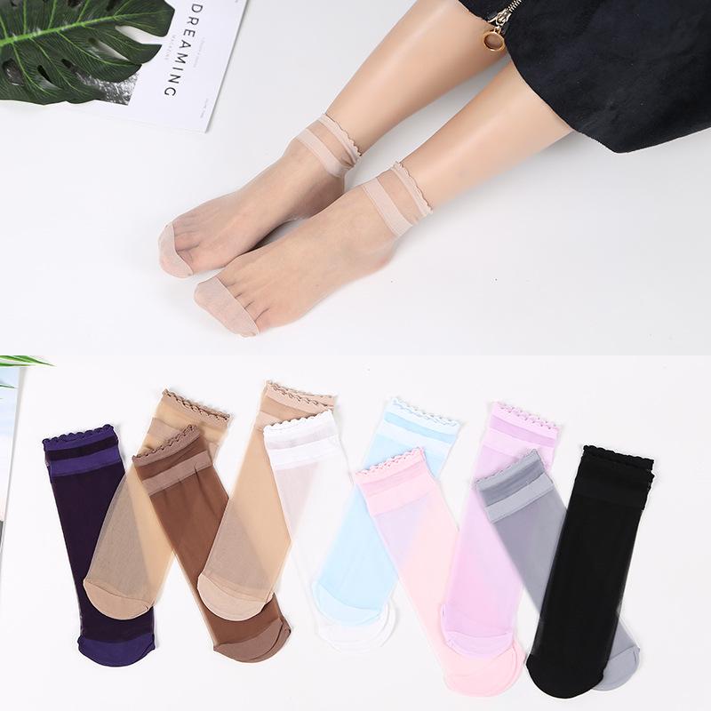 新款女士彩色丝袜天然蚕丝松口女丝袜花边口舒适透气袜子批发