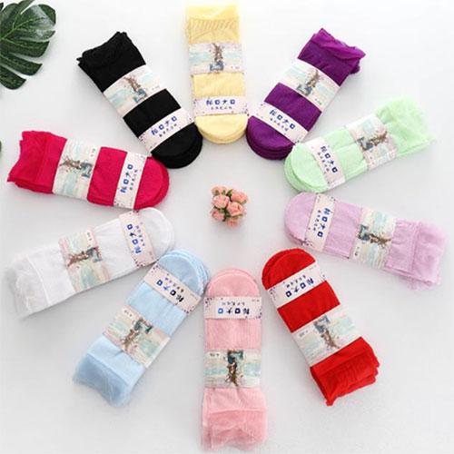 春夏新款 儿童蚕丝松口大口丝袜 糖果色花边袜 超薄短丝袜