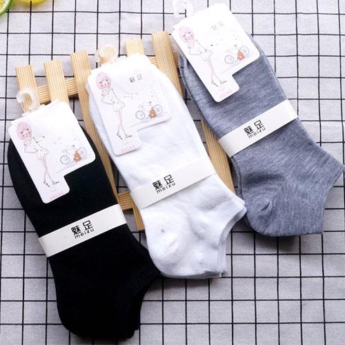 女士船袜子批发 纯色素色黑白灰 低邦低筒 春夏季薄款