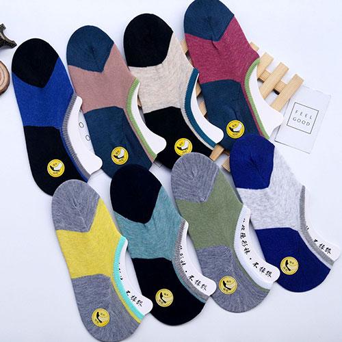 男士硅胶防滑隐形袜子  休闲透气 防脱落 拼色舒适低帮
