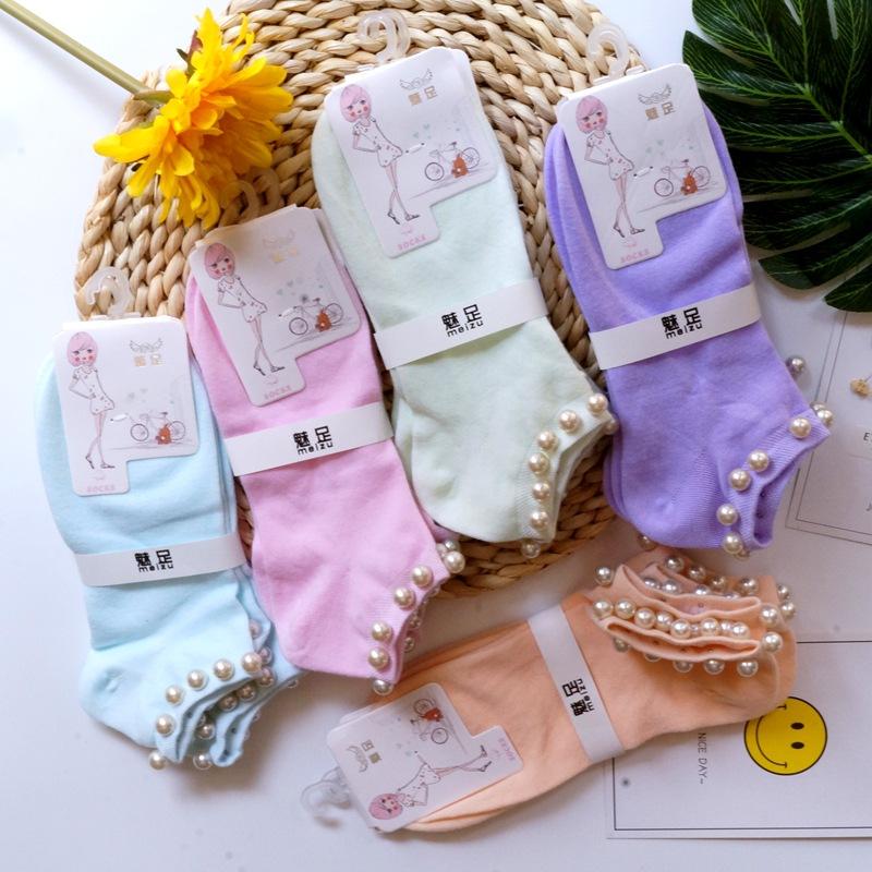春夏新款 韩版珍珠袜子批发 女棉袜子 女士短袜 手工铆钉