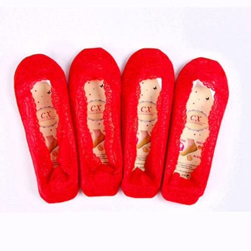 大红色蕾丝袜子女士隐形袜子 硅胶防滑 本命年袜 喜庆袜