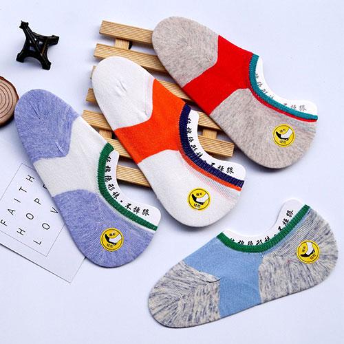 夏季女士隐形袜女棉袜子 硅胶防滑 浅口拼色袜子批发