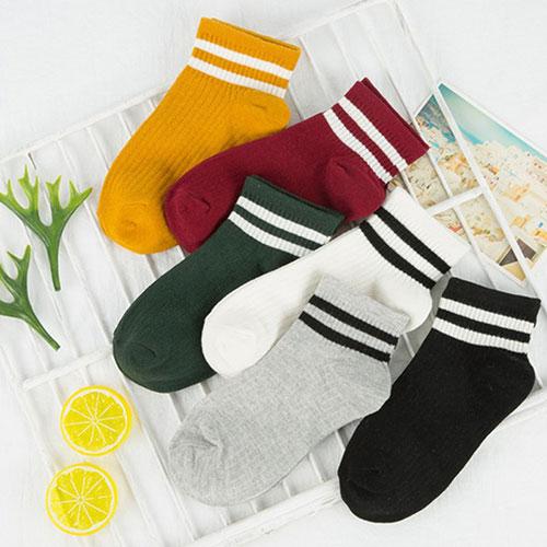 春夏新款 女士全棉袜子两条杠船袜 二杠运动袜子 学院风