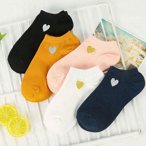 女士春夏新款爱心刺绣船袜子批发  透气浅口船袜 糖果色