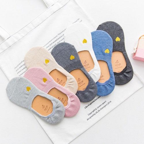 春夏新款 女士隐形袜子批发  金线爱心刺绣 浅口 硅胶防滑