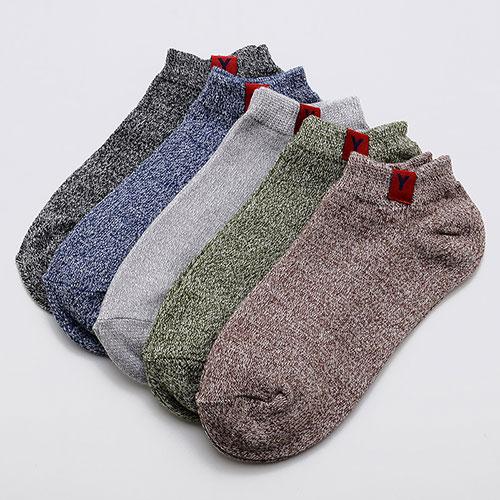 男士复古订标船袜子 素色浅口 低帮创意 春夏款