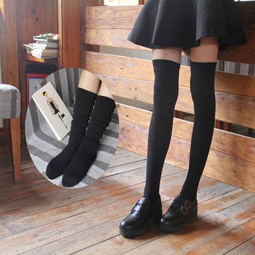 日系过膝袜长筒袜高筒袜批发 女棉袜子 塑形学生堆堆棉袜