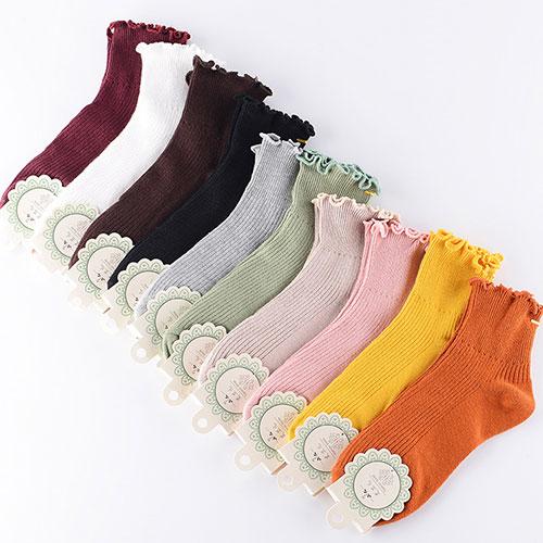秋冬新款 女士中筒袜棉袜 日系纯色 堆堆袜木耳花边松口袜子批发