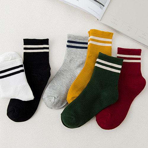 秋冬新品 韩版创意 罗口二条杠女袜 棒球袜 文艺纯棉中筒袜子