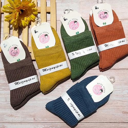 秋冬新款 经典复古女棉袜子 双针条纹 森系中筒袜糖果色袜子