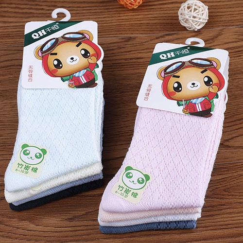 儿童薄棉袜子 男童女童 竹炭棉 纯色中筒袜 网面透气 盒装