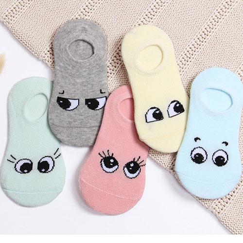 儿童隐形袜棉袜子批发 纯棉吸汗 可爱卡通眼睛 浅口袜