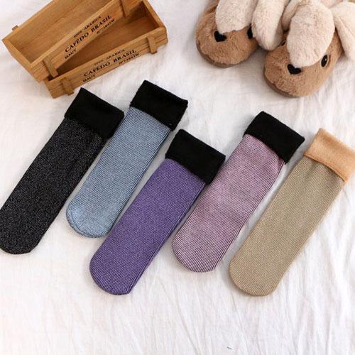 女士金银丝雪地袜子 加绒加厚保暖  拉毛中筒袜子 纯色长袜