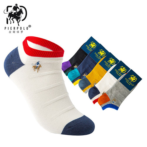 POLO男士拼色刺绣船袜子 隐形休闲短邦运动袜子 春夏款