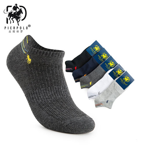 夏季薄款POLO男士网面浅口刺绣船袜