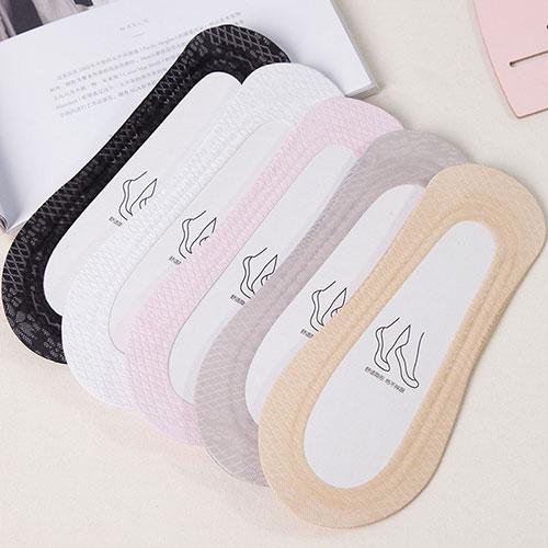 夏季新款 女士高档网面透气冰丝双圈硅胶棉底隐形袜船袜子