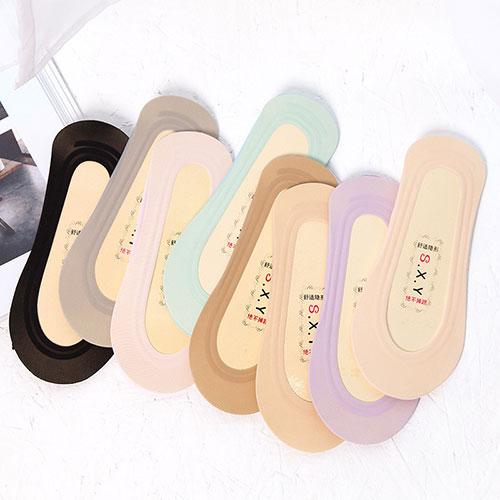 夏季新品 冰丝双圈全硅胶棉底防滑隐形袜船袜子