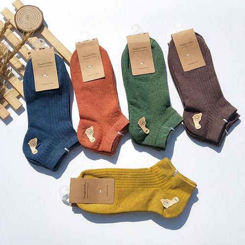 春夏 女士纯色细条纹浅口防滑复古色船袜子