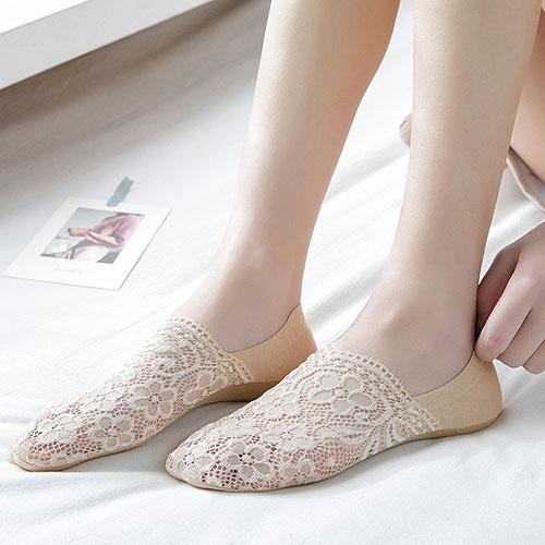 夏季薄款 女士蕾丝浅口隐形硅胶防滑船袜子