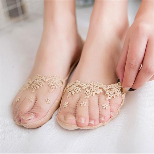 女士镂空细网 超薄 蕾丝花边 防滑隐形船袜子