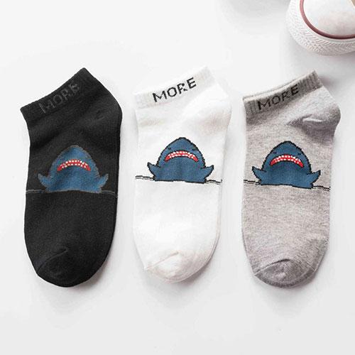 春夏 女士原宿港风 潮牌鲨鱼街头滑板棉袜船袜子