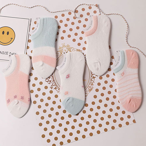 春夏薄款 全棉儿童宝宝小花网眼船袜子批发