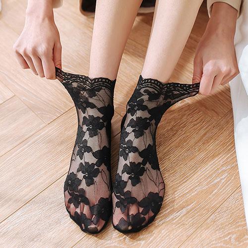 女士春夏 棉底蕾丝花边镂空中筒堆堆袜子批发