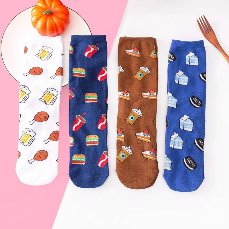 秋冬新款 可乐鸡翅个性创意 直板高筒情侣袜子