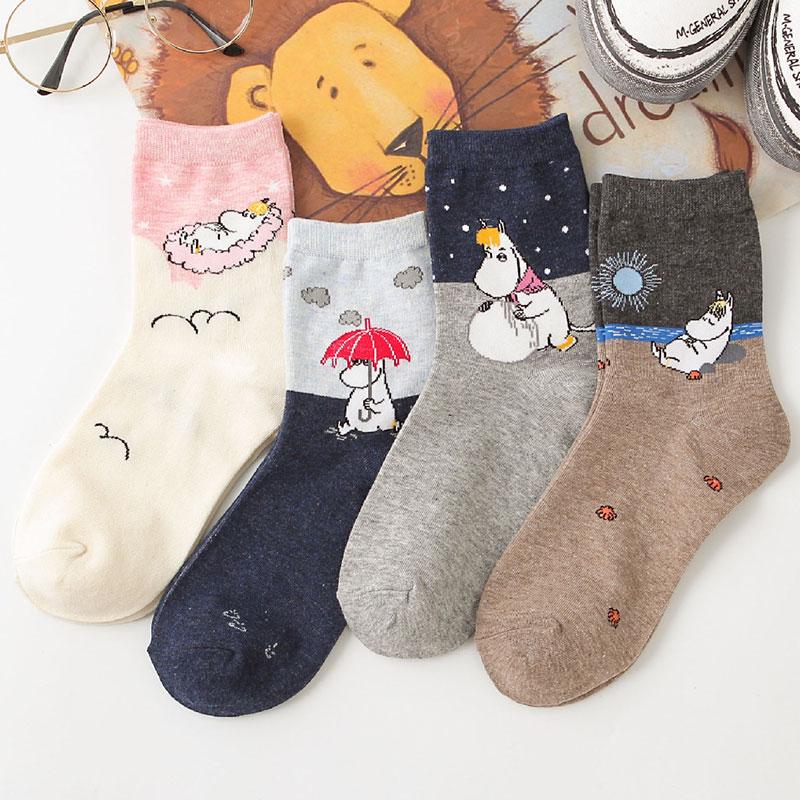 新款 姆明插画中筒纯棉女袜子 搞怪创意时尚潮袜