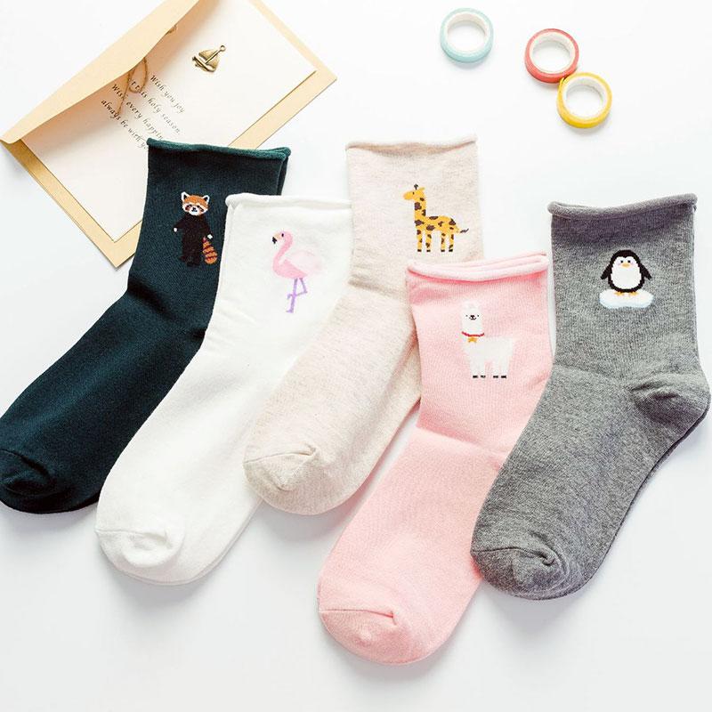 女士纯棉 卡通动物 卷边松口 中筒学院风 月子袜子