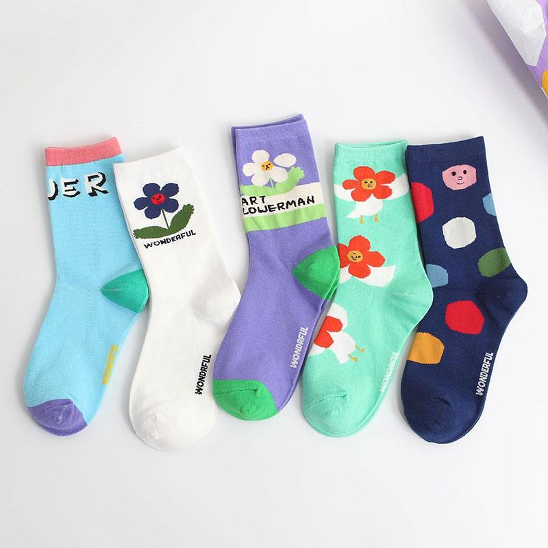 新品 女士花小人 插画系列精梳棉中筒棉袜子